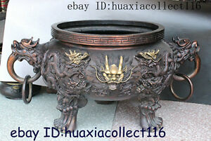 Chinese Dynasty Bronze Gilt Dragon Wealth Incense Burner Censer Statue Sculpture