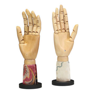 2x Flexible Wooden Hand Figure Manikin Hand Model for Drawing Sketching Painting