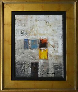 """Original Framed Painting Acrylic Abstract Art on Canvas by Hunoz. 14""""x 18quot; $200.00"""