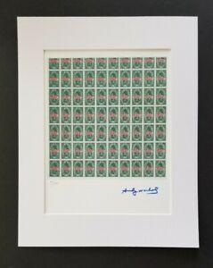 ANDY WARHOL ORIGINAL 1984 SIGNED NUMBERED GREEN STAMPS PRINT MATTED 11X14
