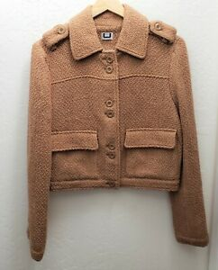 Adolfo Dominguez Cropped Utility Tweed Style Wool Blend Blazer Jacket Camel
