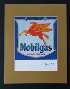 ANDY WARHOL ORIGINAL 1984 SIGNED NUMBERED MOBILGAS PRINT MATTED 11X14