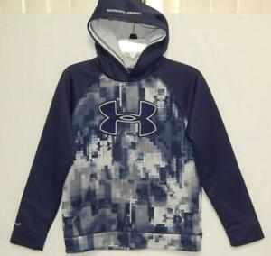 UNDER ARMOUR Youth Boys Big Logo Blue Camouflage Hoodie Size Large 14 $24.99