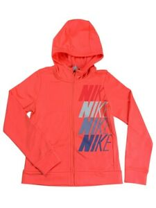 Nike Girls Dri Fit Therma Full Zip Hoodie Sweater Shirt Pink CJ4374 New $19.96