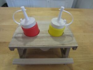 Miniature Picnic Table Condiment Shaker Salt/Pepper Restaurant Ketchup Mustard