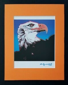 ANDY WARHOL ORIGINAL 1983 SIGNED NUMBERED BALD EAGLE PRINT MATTED 11X14