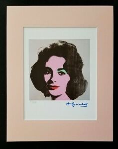ANDY WARHOL ORIGINAL 1983 SIGNED NUMBERED LIZ TAYLOR PRINT MATTED 11X14
