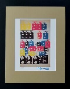 ANDY WARHOL ORIGINAL 1983 SIGNED NUMBERED MONA LISA PRINT MATTED 11X14