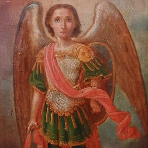 ANTIQUE 19c HAND PAINTED RUSSIAN ICON OF ST.MIHAIL ST.MICHAEL $995.00