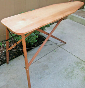 Vintage Wooden Folding Ironing Board in Fine Working Condition with Metal Frame