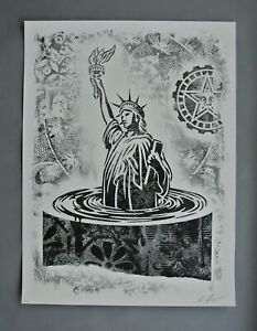 SINKING LIBERTY : SIGNEDNUMBERED LITHOGRAPH : OBEY : SHEPARD FAIREY