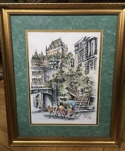 QUEBEC Claude Roy hand colored lithograph Signed beautiful presentation frame $49.95