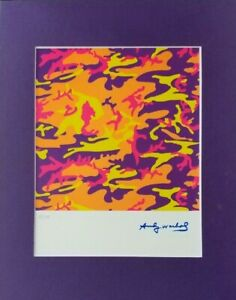 ANDY WARHOL ORIGINAL 1984 SIGNED NUMBERED CAMOUFLAGE PRINT MATTED 11X14