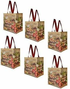 Earthwise Reusable Grocery Shopping Bags Extremely Durable Multi Use 6 Pack