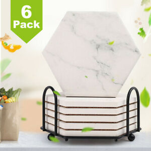 6PCS Hexagon Coasters for Drinks Absorbent with Holder Non Slip Marble Pattern