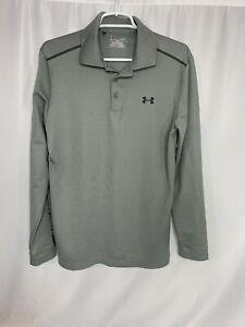 Under Armour Long Sleeved Gray Polo Shirt Mens Small S Loose Fit $19.99