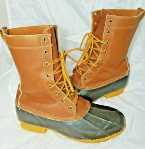 Eddie Bauer Mens Duck Hunting 10quot; Lace Up Leather Rubber Boots Mens US 9 M Vtg