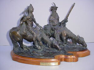 RON HERRON BRONZE WESTERN INDIAN GUIDE TRAPPER HORSES Signed OP 1of1 1976 $2500.00