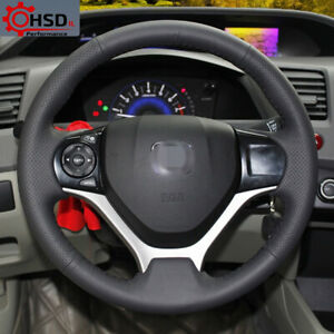 Hand Stitch Sewing Black Leather Steering Wheel Cover For Honda Civic 2012 2014 $29.90