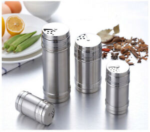 Stainless Steel Seasoning Spice Shaker Bottle Jar BBQ Salt Pepper Condiment Box