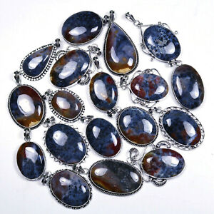 Dendrite Plum Root Agate 100 Piece Natural Designer Silver Plated Pendant