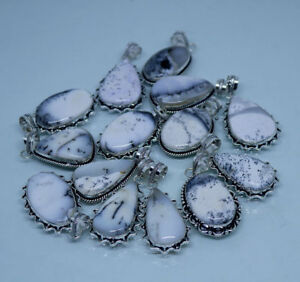 Natural Lot ! 100 PCs White Dendritic Agate Gemstone .925 Silver Plated Pendants