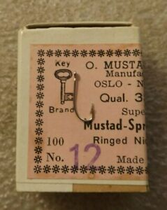 Mustad Fishing Hooks Box Of 100 #12 Sproat 3365 A Nickel Plate E