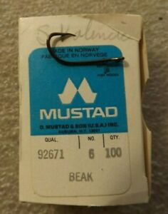 Mustad Fishing Hooks Box Of 100 Beak #6 92671 E