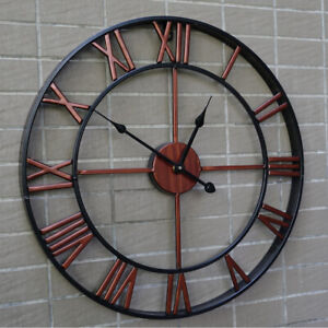 """16"""" Large Outdoor Wall Clock Mute Hollow Battery Operated Waterproof Home Decor $19.98"""