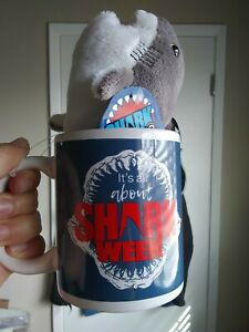 Official Shark Week Its All About Shark Week Mug with Plush Great White Clip On