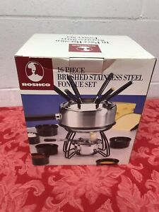 NEW Roshco Fondue Set Stainless Steel Includes 6 Forks & Bowls In Original Box