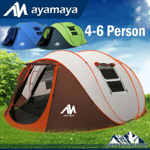 4 6 Person Large Instant Pop Up Dome Family Camping Tent Waterproof Double Layer
