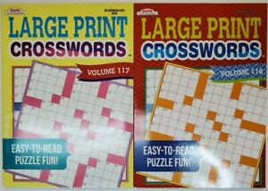 2 Kappa Puzzles Large Print Crosswords Activity Books Vol#117 amp; 118 Easy to Read $9.95