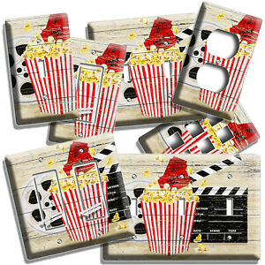 POP CORN TV ROOM HOME MOVIE THEATER RUSTIC REEL LIGHT SWITCH OUTLET WALL PLATES