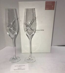 Royal Doulton Crystal With This Ring Swarovski Elements Champagne Flutes Glass