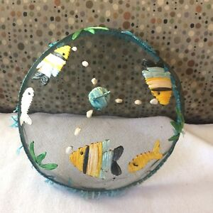 Vintage Wire Mesh Food Cover Dome Nautical Fish