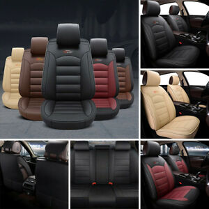 5 Seat Car Seat Covers ProtectorCushion FrontRear Full Set PU Leather Interior