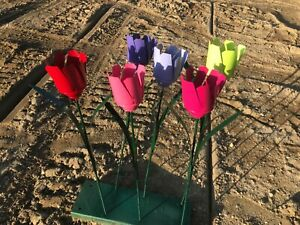 6 recycled metal flower spring collection tulip garden stake yard color 22quot; tall $40.00