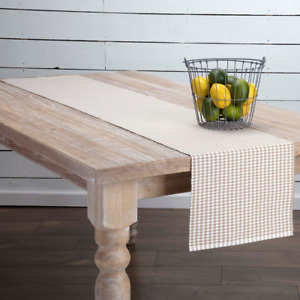 New Cottage Chic Country TAN amp; WHITE GINGHAM Checked Table Runner 72quot;