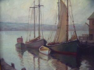 EDITH SIBLEY 1910 2010 BEDFORD MA: quot;Gloucester Harborquot; Oil Framed Ca 1940 $750.00