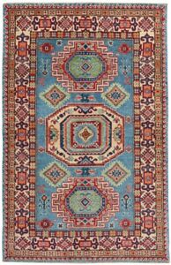 Hand-Knotted Super Kazak Blue/Ivory Oriental Area Rug Traditional Carpet 4x6 New
