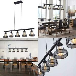 Rustic Kitchen Island Lights 5 Ceil Fixture Black Painted Sloped