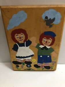 Vintage RAGGEDY ANN amp; ANDY Hand Painted WOOD WALL PLAQUE 1970s? $7.99