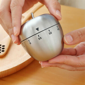 Stainless Steel Apple-shaped Kitchen Timer Cooking Mechanical 60 Min Alarm