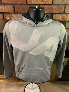 Under Armour Loose Hooded Hoodie Gym Sweatshirt Youth Size XL Gray White $11.99