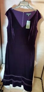 LAUREN Ralph Lauren Purple Velvet Sleeveless Below Knee Dress 12 14 16 NWT FAST
