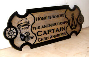 Personalized Laser engraved Wood Nautical Sign Boat Wall Decor.Any text.GIFT