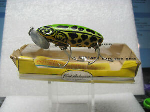 Fred Arbogast 58 oz. Jitterbug in Green Leopard FrogYellow Body #207 New in Bo