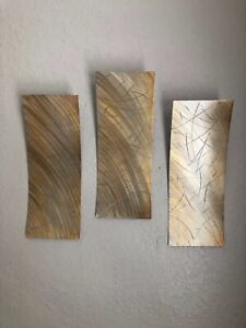 Abstract metal wall art 3 piece set sculpture by Holly Lentz $89.00