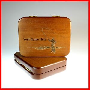 FLY FISHING BOX PERSONALIZED LASER ETCHED BEAUTIFUL WOOD mails fast from USA man